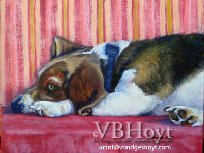 Beagle Jake, oil painting